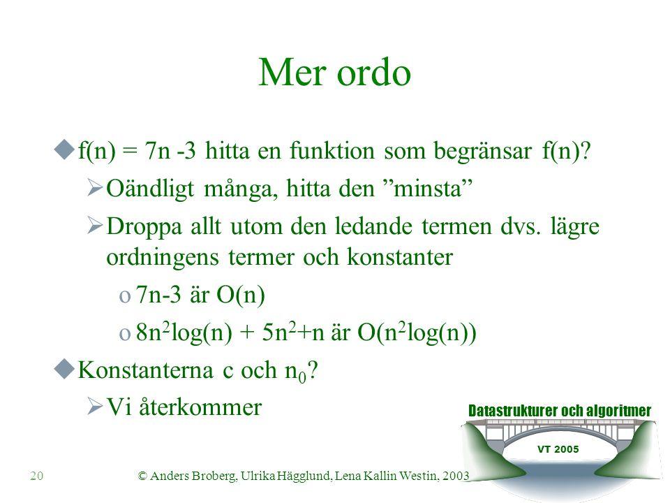 Datastrukturer och algoritmer VT 2005 © Anders Broberg, Ulrika Hägglund, Lena Kallin Westin, 200320 Mer ordo  f(n) = 7n -3 hitta en funktion som begränsar f(n).