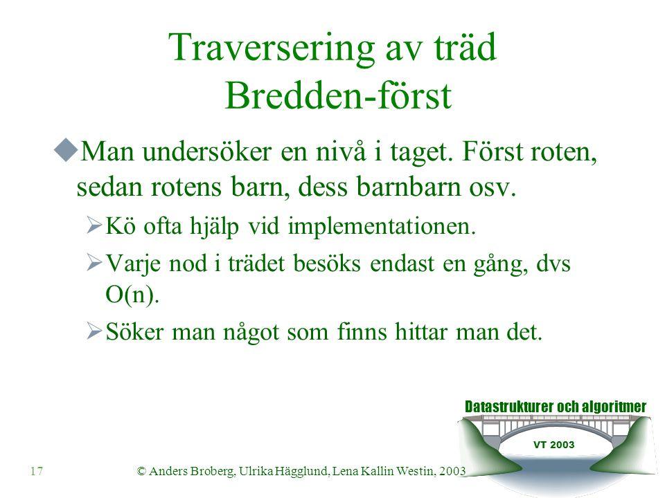 Datastrukturer och algoritmer VT 2003 17© Anders Broberg, Ulrika Hägglund, Lena Kallin Westin, 2003 Traversering av träd Bredden-först  Man undersöker en nivå i taget.