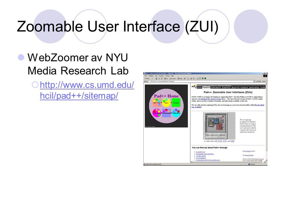 Zoomable User Interface (ZUI) WebZoomer av NYU Media Research Lab  http://www.cs.umd.edu/ hcil/pad++/sitemap/ http://www.cs.umd.edu/ hcil/pad++/sitemap/