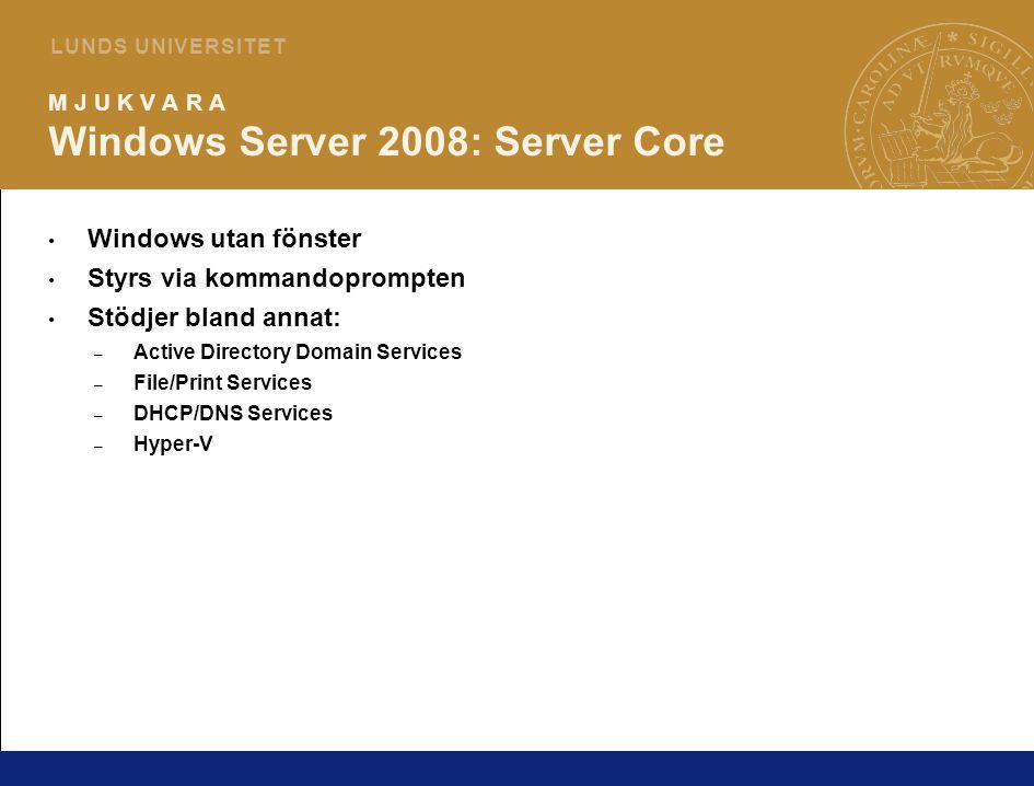 5 L U N D S U N I V E R S I T E T M J U K V A R A Windows Server 2008: Hyper-V Snabb hårdvarubaserad virtualisering – Kräver nyare 64-bits CPU och 64-bitars Windows Server 2008 Tillgänglighet – Beta-version följer med 2008 RTM som roll i Server Manager – Mer information på: http://www.microsoft.com/windowsserver2008/en/us/virtualization-consolidation.aspx http://www.microsoft.com/windowsserver2008/en/us/virtualization-consolidation.aspx – RC0 (senaste versionen) finns att ladda hem från: http://www.microsoft.com/downloads/details.aspx?FamilyId=DDD94DDA-9D31-4E6D-88A0- 1939DE3E9898&displaylang=en http://www.microsoft.com/downloads/details.aspx?FamilyId=DDD94DDA-9D31-4E6D-88A0- 1939DE3E9898&displaylang=en – Skarp version i augusti/Q3 (eller tidigare?) – max 180 dagar efter lanseringen av Server 2008
