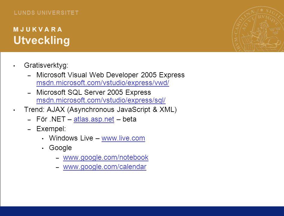 12 L U N D S U N I V E R S I T E T M J U K V A R A Utveckling Gratisverktyg: – Microsoft Visual Web Developer 2005 Express msdn.microsoft.com/vstudio/express/vwd/ msdn.microsoft.com/vstudio/express/vwd/ – Microsoft SQL Server 2005 Express msdn.microsoft.com/vstudio/express/sql/ msdn.microsoft.com/vstudio/express/sql/ Trend: AJAX (Asynchronous JavaScript & XML) – För.NET – atlas.asp.net – betaatlas.asp.net – Exempel: Windows Live – www.live.comwww.live.com Google – www.google.com/notebook www.google.com/notebook – www.google.com/calendar www.google.com/calendar
