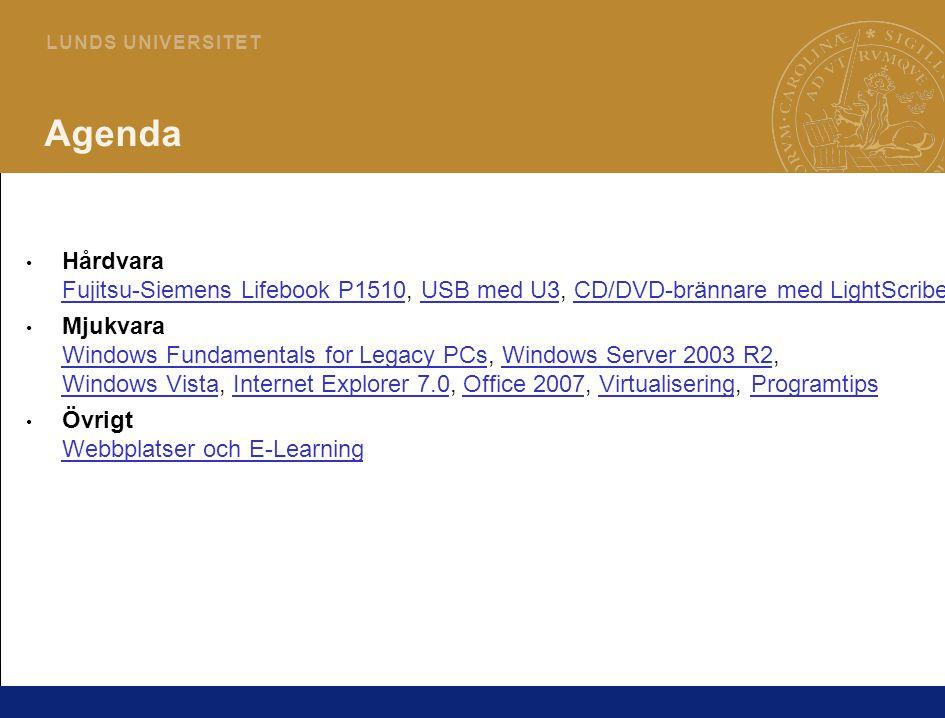 3 L U N D S U N I V E R S I T E T H Å R D V A R A Fujitsu-Siemens Lifebook P1510 Specifikationer: – Windows XP Tablet PC Edition 2005 – Intel Pentium M Ultra-Low Voltage 1,2 GHz – 512 MB RAM / 60 GB HD – 8,9 skärm (1024 x 700 px) – Fingeravtrycksläsare Fördelar: – Ultraportabel – endast 1,1 kilo – Tablet PC är mycket smidigt för att läsa dokument på resande fot – Bra batteritid (om man köper till 6-cellsbatteriet) – Tyst Nackdelar – Något långsam – inte alltför krävande program – Ingen PC-Cardplats (för 3G kort etc) Mer info: – www.fujitsu-siemens.com/campaigns/lifebook_p1510/lifebook_p1510.html www.fujitsu-siemens.com/campaigns/lifebook_p1510/lifebook_p1510.html – www.dustin.se/dacsaportal/?ProdID=5010087686 www.dustin.se/dacsaportal/?ProdID=5010087686 På gång: inbyggd 3G i kommande datormodeller från Fujitsu-Siemens