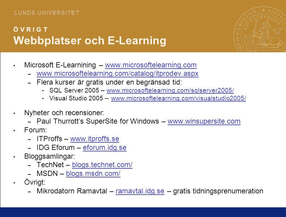 23 L U N D S U N I V E R S I T E T Ö V R I G T Webbplatser och E-Learning Microsoft E-Learnining – www.microsoftelearning.comwww.microsoftelearning.com – www.microsoftelearning.com/catalog/itprodev.aspx www.microsoftelearning.com/catalog/itprodev.aspx – Flera kurser är gratis under en begränsad tid: SQL Server 2005 – www.microsoftelearning.com/sqlserver2005/www.microsoftelearning.com/sqlserver2005/ Visual Studio 2005 -- www.microsoftelearning.com/visualstudio2005/www.microsoftelearning.com/visualstudio2005/ Nyheter och recensioner: – Paul Thurrott's SuperSite for Windows – www.winsupersite.comwww.winsupersite.com Forum: – ITProffs – www.itproffs.sewww.itproffs.se – IDG Eforum – eforum.idg.seeforum.idg.se Bloggsamlingar: – TechNet – blogs.technet.com/blogs.technet.com/ – MSDN – blogs.msdn.com/blogs.msdn.com/ Övrigt: – Mikrodatorn Ramavtal – ramavtal.idg.se – gratis tidningsprenumerationramavtal.idg.se