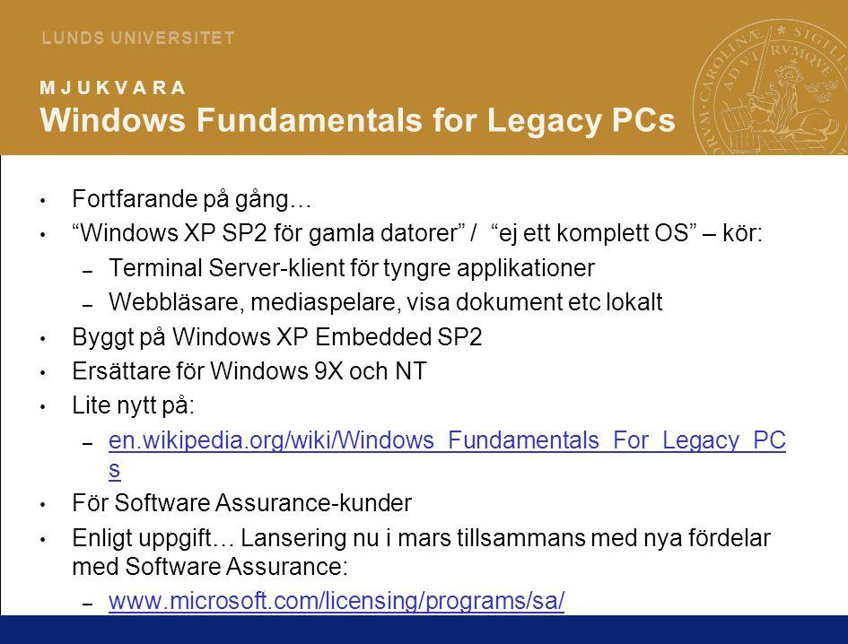7 L U N D S U N I V E R S I T E T M J U K V A R A Windows Server 2003 R2 Förbättringar av intresse för universitetet: – Print Servers – nya och förbättrade funktioner – Quota Management – bättre styrmöjligheter och loggning – File Screening – hindra vissa typer av filer att lagras (*.mp3 etc) Gratis att uppgradera till om man har SA-avtal på 2003 Server – annars ny licens Läs mer: – www.microsoft.com/windowsserver2003 www.microsoft.com/windowsserver2003 – www.winsupersite.com/reviews/win2003_r2.asp www.winsupersite.com/reviews/win2003_r2.asp Ny produktcykel för Server-produkter – Stora releaser vart 4:e år med förändringar av kärnan etc – R2 releaser efter 2 år däremellan – bör ej ställa till med kompatibilitetsproblem