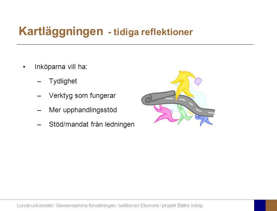 Lunds universitet / Gemensamma förvaltningen / sektionen Ekonomi / projekt Bättre inköp Kartläggningen - tidiga reflektioner Inköparna vill ha: –Tydlighet –Verktyg som fungerar –Mer upphandlingsstöd –Stöd/mandat från ledningen