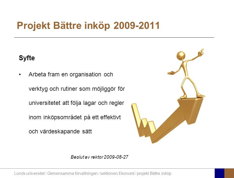 Lunds universitet / Gemensamma förvaltningen / sektionen Ekonomi / projekt Bättre inköp Önskade effekter Bättre affärer – mer för pengarna Effektivare inköp Bättre koll på leverantörerna Ökad avtalstrohet Ökad lag- och regelefterlevnad