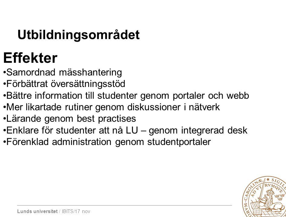Lunds universitet / IBITS/17 nov Utbildningsområdet Effekter Samordnad mässhantering Förbättrat översättningsstöd Bättre information till studenter ge