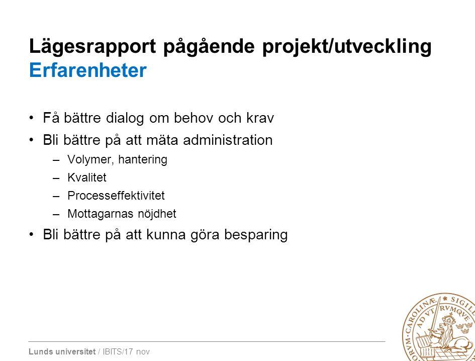 Lunds universitet / IBITS/17 nov Lägesrapport pågående projekt/utveckling Erfarenheter Få bättre dialog om behov och krav Bli bättre på att mäta admin