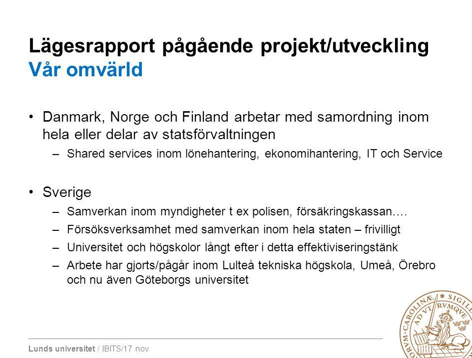 Lunds universitet / IBITS/17 nov Lägesrapport pågående projekt/utveckling Vår omvärld Danmark, Norge och Finland arbetar med samordning inom hela elle