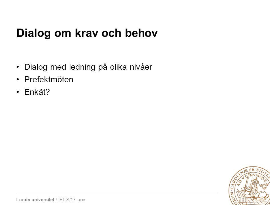 Lunds universitet / IBITS/17 nov Dialog om krav och behov Dialog med ledning på olika nivåer Prefektmöten Enkät?