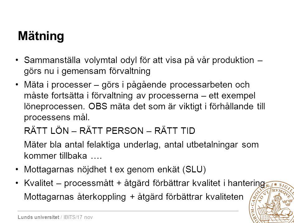 Lunds universitet / IBITS/17 nov Mätning Sammanställa volymtal odyl för att visa på vår produktion – görs nu i gemensam förvaltning Mäta i processer –
