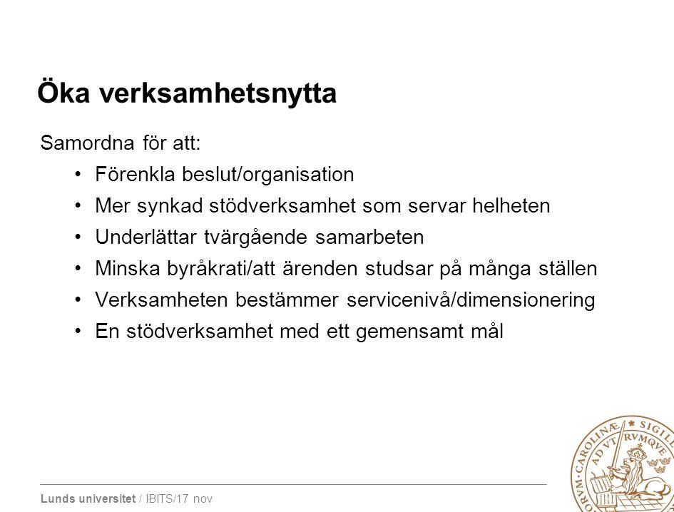 Lunds universitet / IBITS/17 nov Öka verksamhetsnytta Samordna för att: Förenkla beslut/organisation Mer synkad stödverksamhet som servar helheten Und