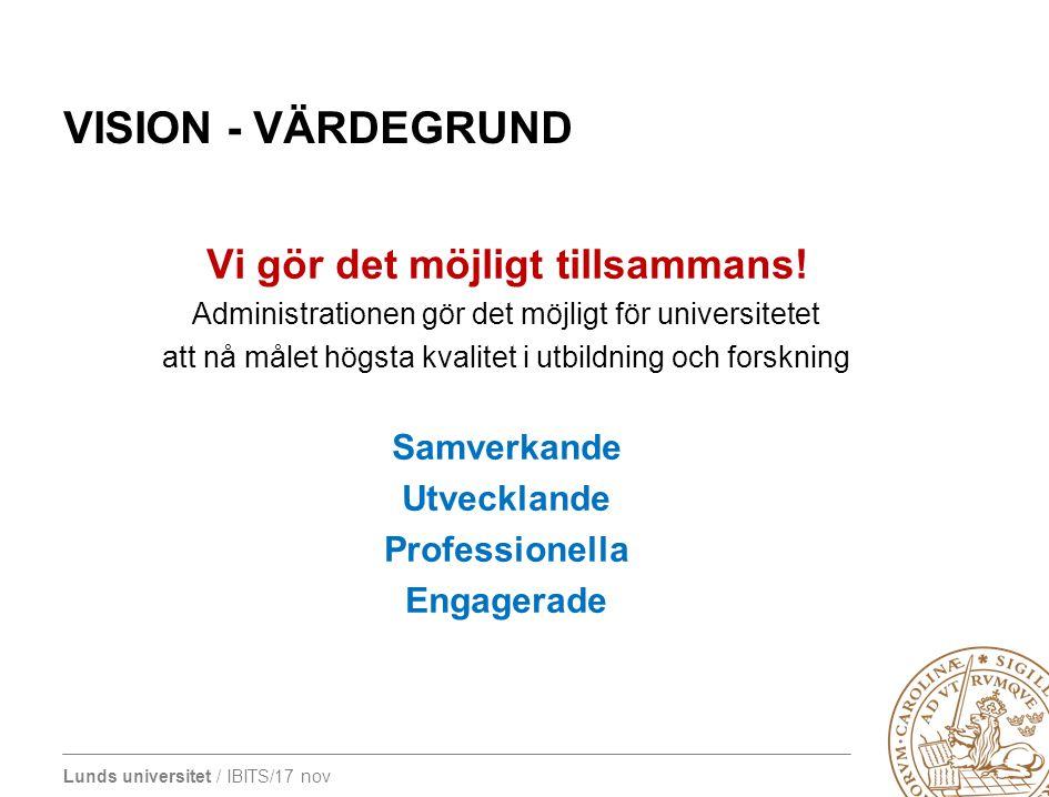 Lunds universitet / IBITS/17 nov VISION - VÄRDEGRUND Vi gör det möjligt tillsammans! Administrationen gör det möjligt för universitetet att nå målet h