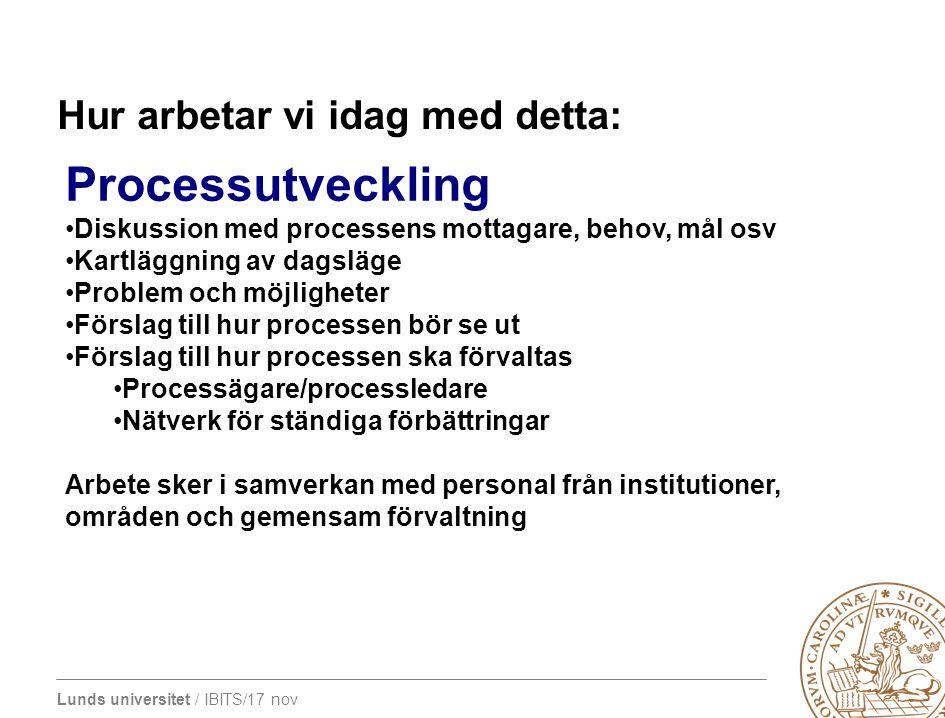 Lunds universitet / IBITS/17 nov Hur arbetar vi idag med detta: Processutveckling Diskussion med processens mottagare, behov, mål osv Kartläggning av