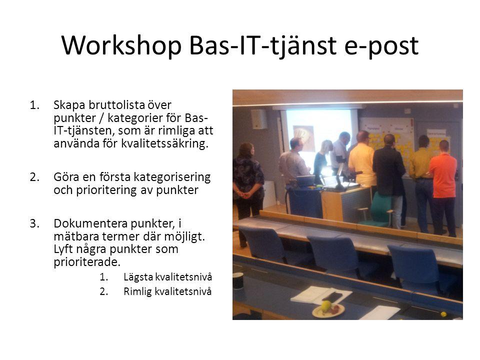 Workshop Bas-IT-tjänst e-post 1.Skapa bruttolista över punkter / kategorier för Bas- IT-tjänsten, som är rimliga att använda för kvalitetssäkring. 2.G