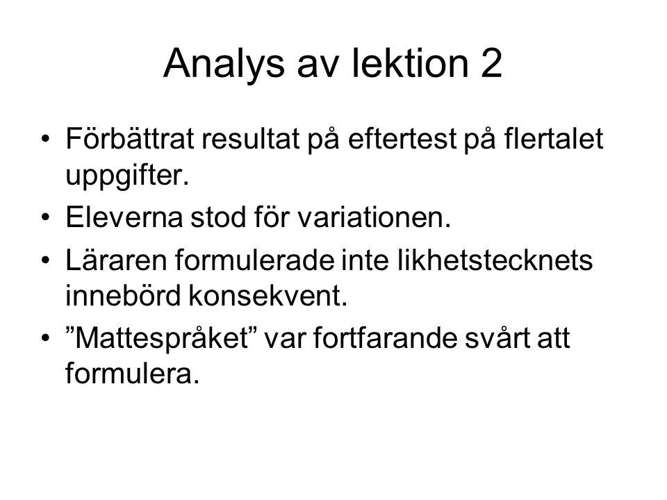 Analys av lektion 2 Förbättrat resultat på eftertest på flertalet uppgifter. Eleverna stod för variationen. Läraren formulerade inte likhetstecknets i