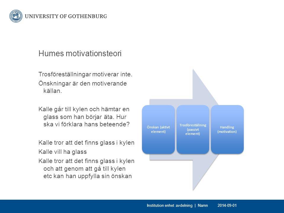 Humes motivationsteori Trosföreställningar motiverar inte.