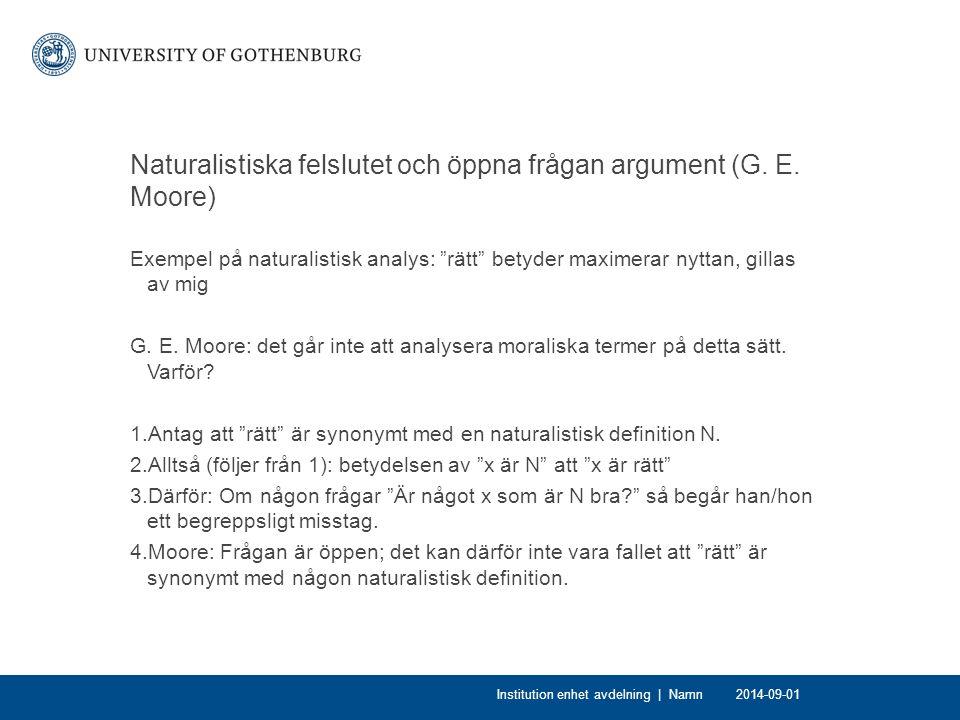 Naturalistiska felslutet och öppna frågan argument (G.