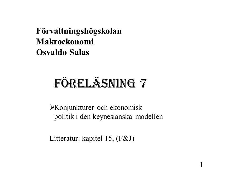 Förvaltningshögskolan Makroekonomi Osvaldo Salas FÖRELÄSNING 7  Konjunkturer och ekonomisk politik i den keynesianska modellen Litteratur: kapitel 15
