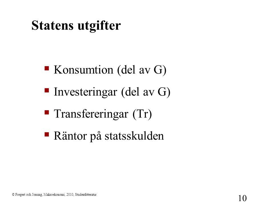 © Fregert och Jonung, Makroekonomi, 2010, Studentlitteratur 10 Statens utgifter  Konsumtion (del av G)  Investeringar (del av G)  Transfereringar (