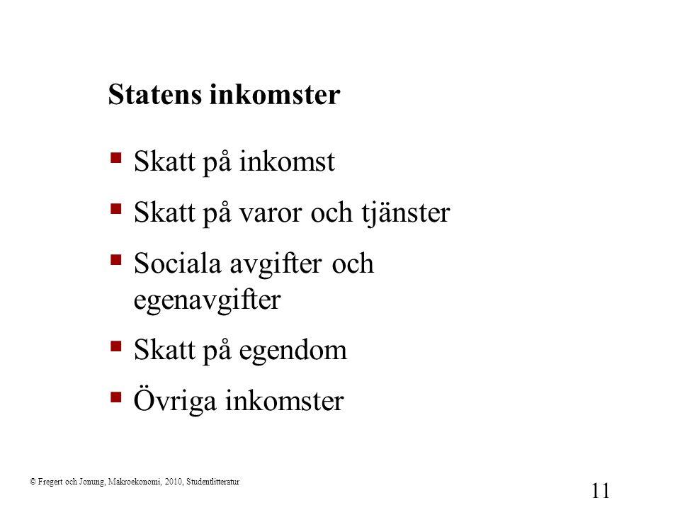 © Fregert och Jonung, Makroekonomi, 2010, Studentlitteratur 11 Statens inkomster  Skatt på inkomst  Skatt på varor och tjänster  Sociala avgifter o