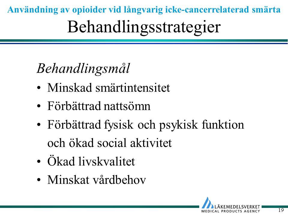 Användning av opioider vid långvarig icke-cancerrelaterad smärta 19 Behandlingsstrategier Behandlingsmål Minskad smärtintensitet Förbättrad nattsömn Förbättrad fysisk och psykisk funktion och ökad social aktivitet Ökad livskvalitet Minskat vårdbehov