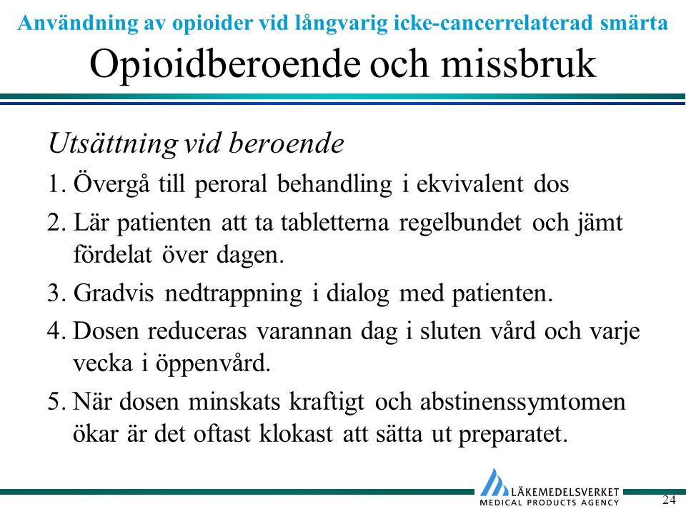Användning av opioider vid långvarig icke-cancerrelaterad smärta 24 Opioidberoende och missbruk Utsättning vid beroende 1.