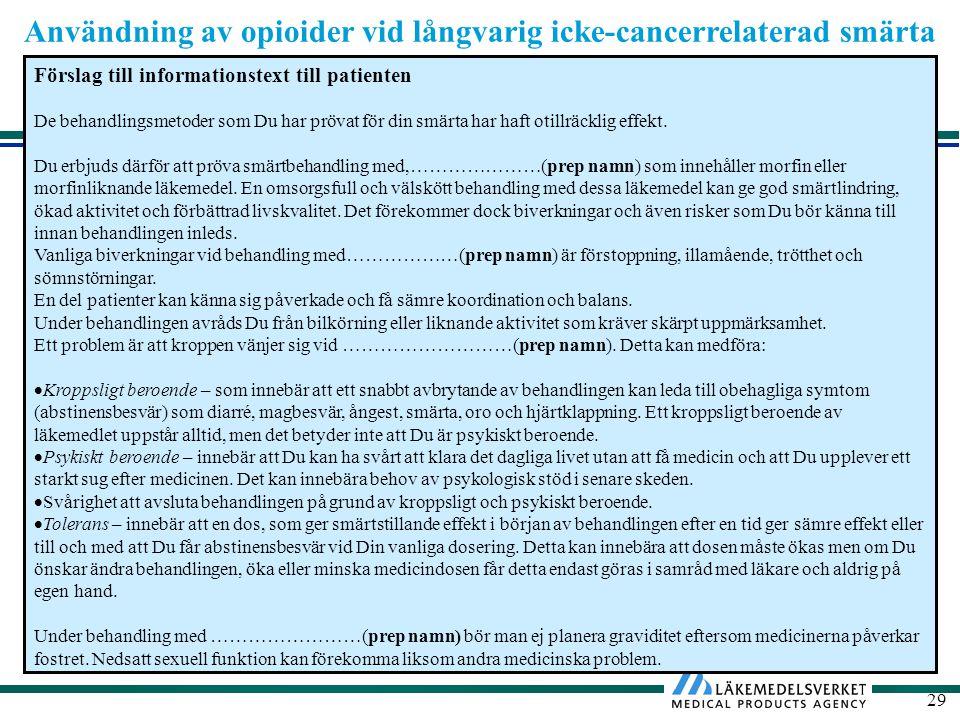 Användning av opioider vid långvarig icke-cancerrelaterad smärta 29 Förslag till informationstext till patienten De behandlingsmetoder som Du har prövat för din smärta har haft otillräcklig effekt.