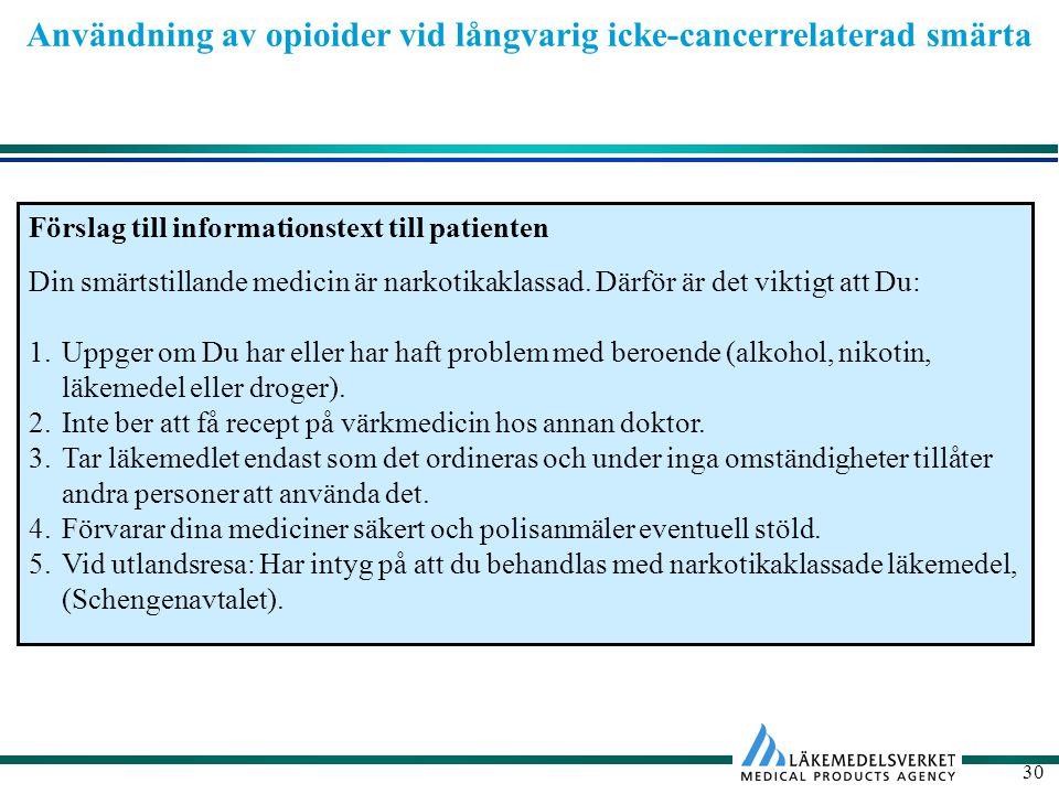 Användning av opioider vid långvarig icke-cancerrelaterad smärta 30 Förslag till informationstext till patienten Din smärtstillande medicin är narkotikaklassad.