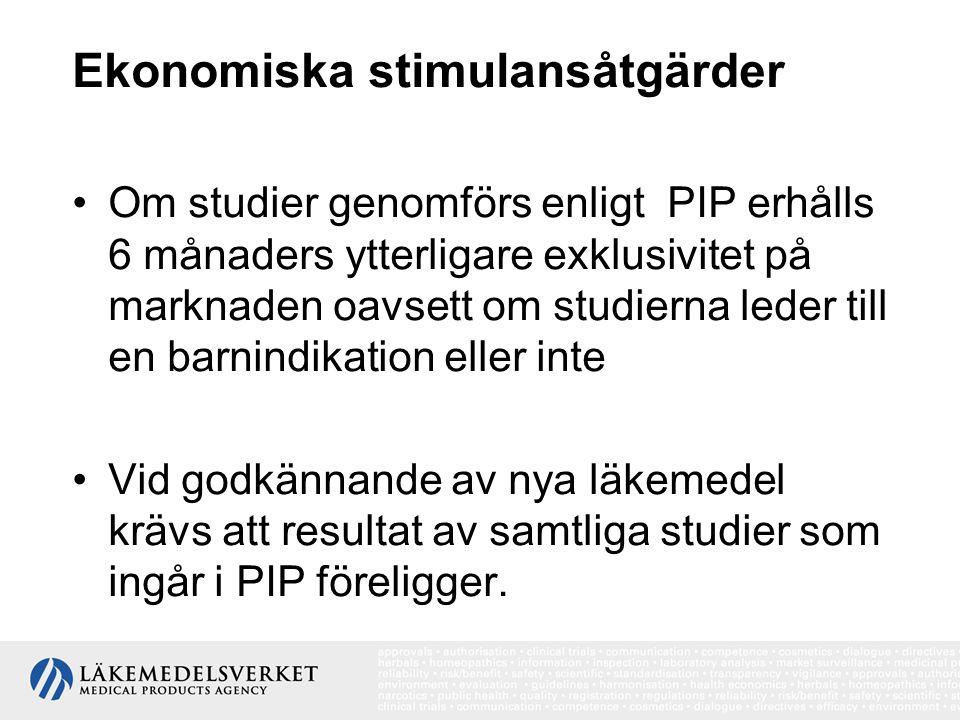 Ekonomiska stimulansåtgärder Om studier genomförs enligt PIP erhålls 6 månaders ytterligare exklusivitet på marknaden oavsett om studierna leder till