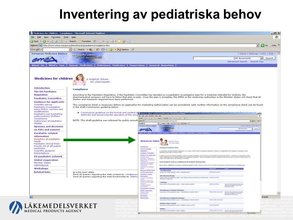 Inventering av pediatriska behov