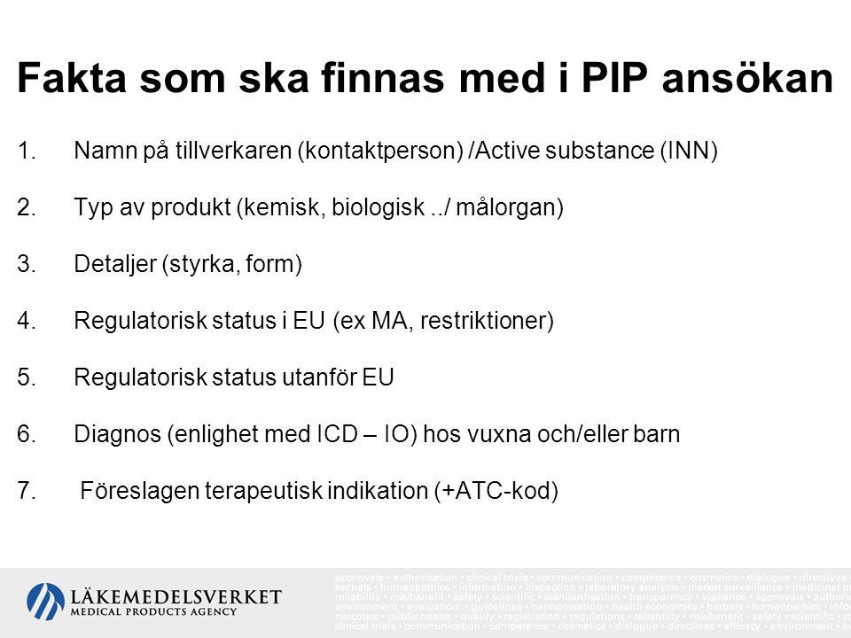 Fakta som ska finnas med i PIP ansökan 1.Namn på tillverkaren (kontaktperson) /Active substance (INN) 2.Typ av produkt (kemisk, biologisk../ målorgan)