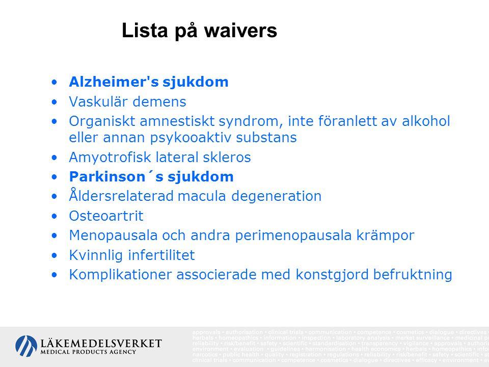 Alzheimer's sjukdom Vaskulär demens Organiskt amnestiskt syndrom, inte föranlett av alkohol eller annan psykooaktiv substans Amyotrofisk lateral skler