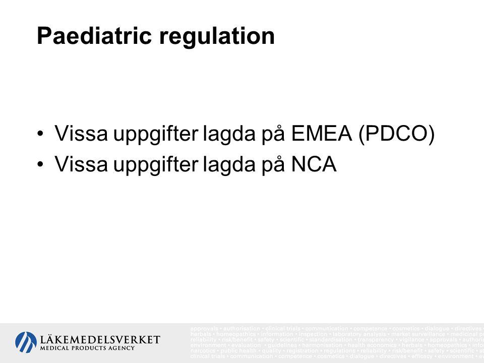 PDCOs arbete Bedöma PIP/waivers/deferrals Bedöma data enligt överenskommen PIP formulera ståndpunkter gällande kvalitet, säkerhet eller effektivitet Rådgivande organ gällande läkemedel för barn