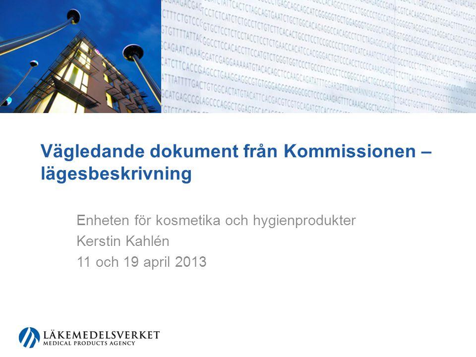 Vägledningar som redan finns Ej testat på djur (2006/406/EEC) Solskydd (2006/647/EEC) http://eur-lex.europa.eu/RECH_naturel.do?ihmlang=sv Gränsdragningsdokument –läkemedel –biocider –andra produkter (Manual of the scope of applications of the Cosmetic Products Directive 76/768/EEC) http://ec.europa.eu/consumers/sectors/cosmetics/cosmetic-products/borderline- products/index_en.htm