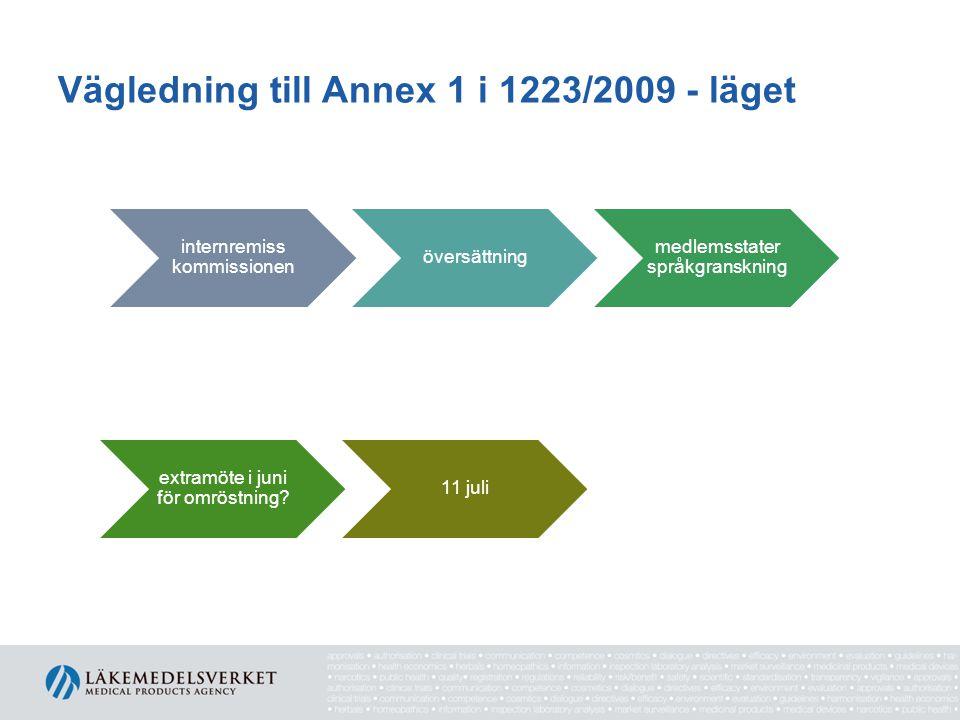 Vägledning till Annex 1 i 1223/2009 - läget internremiss kommissionen översättning medlemsstater språkgranskning extramöte i juni för omröstning.