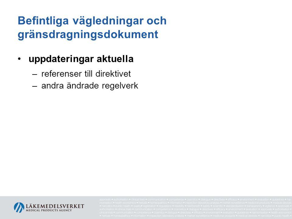 Befintliga vägledningar och gränsdragningsdokument uppdateringar aktuella –referenser till direktivet –andra ändrade regelverk