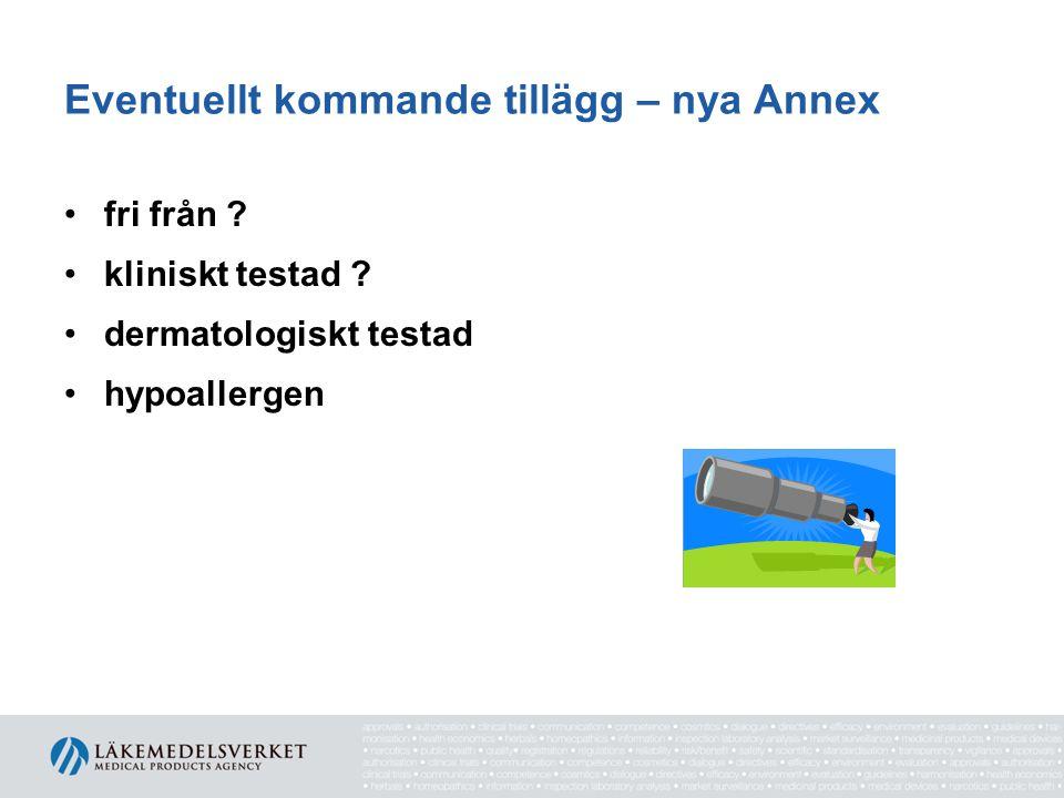 Eventuellt kommande tillägg – nya Annex fri från .
