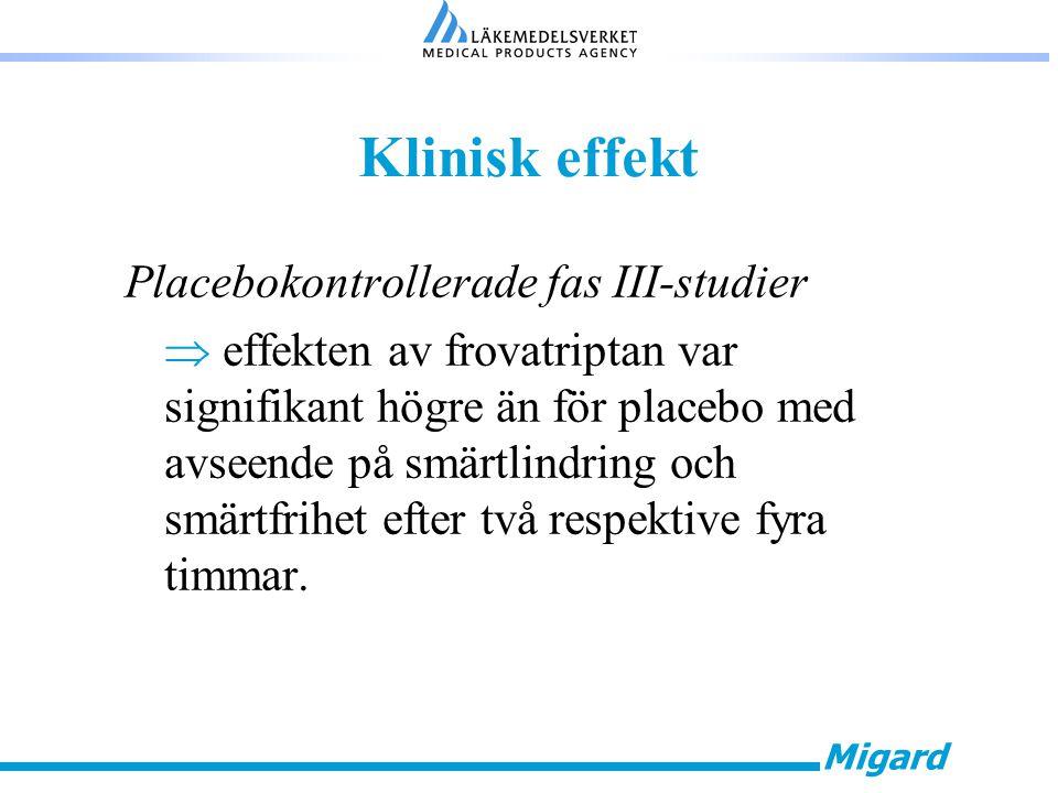 Migard Klinisk effekt Placebokontrollerade fas III-studier  effekten av frovatriptan var signifikant högre än för placebo med avseende på smärtlindring och smärtfrihet efter två respektive fyra timmar.