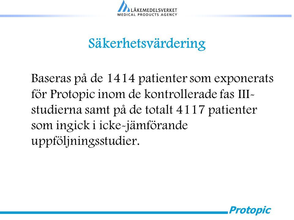Protopic Säkerhetsvärdering Baseras på de 1414 patienter som exponerats för Protopic inom de kontrollerade fas III- studierna samt på de totalt 4117 p