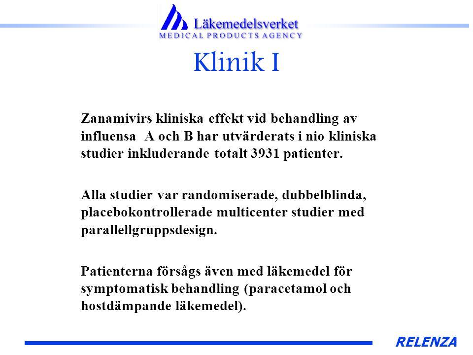 RELENZA Klinik I Zanamivirs kliniska effekt vid behandling av influensa A och B har utvärderats i nio kliniska studier inkluderande totalt 3931 patienter.