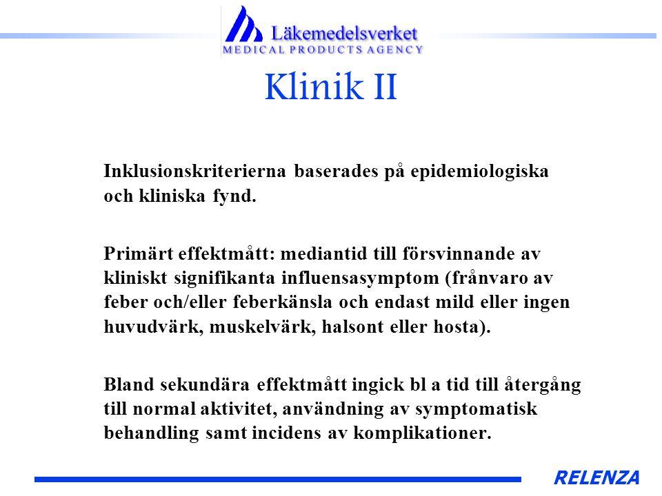 RELENZA Klinik II Inklusionskriterierna baserades på epidemiologiska och kliniska fynd.