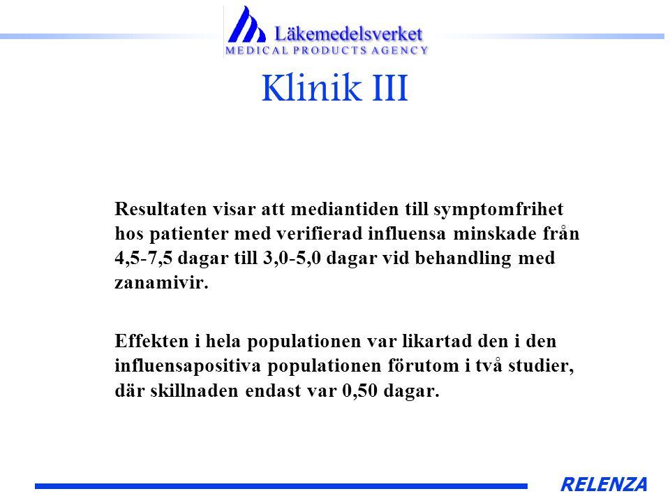 RELENZA Klinik III Resultaten visar att mediantiden till symptomfrihet hos patienter med verifierad influensa minskade från 4,5-7,5 dagar till 3,0-5,0 dagar vid behandling med zanamivir.