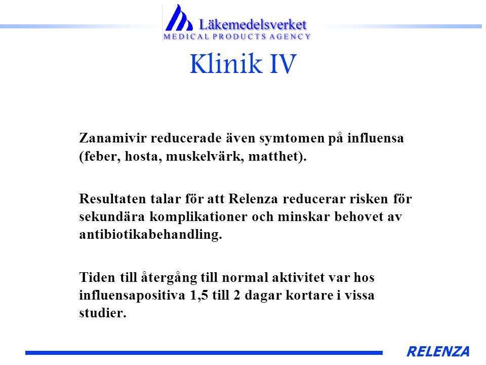 RELENZA Klinik IV Zanamivir reducerade även symtomen på influensa (feber, hosta, muskelvärk, matthet).