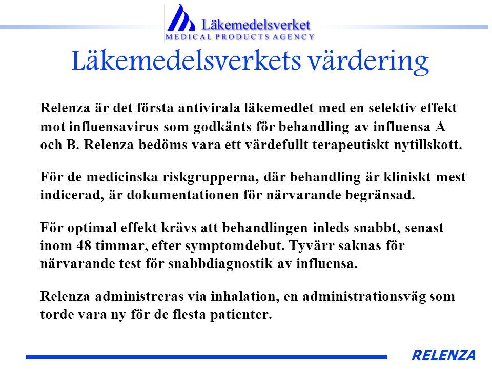 RELENZA Läkemedelsverkets värdering Relenza är det första antivirala läkemedlet med en selektiv effekt mot influensavirus som godkänts för behandling av influensa A och B.
