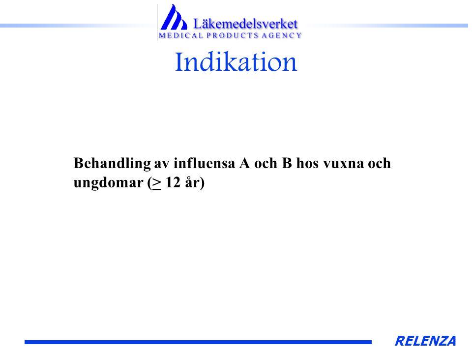 RELENZA Indikation Behandling av influensa A och B hos vuxna och ungdomar (> 12 år)