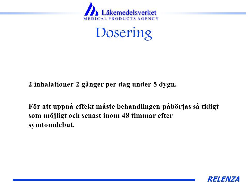 RELENZA Dosering 2 inhalationer 2 gånger per dag under 5 dygn.