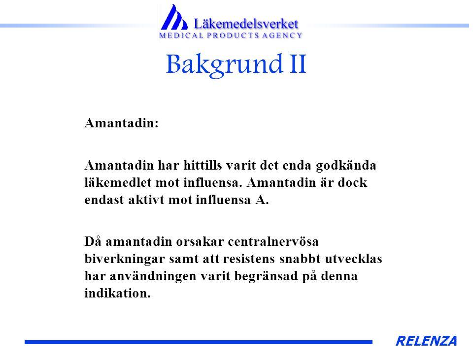 RELENZA Bakgrund II Amantadin: Amantadin har hittills varit det enda godkända läkemedlet mot influensa.