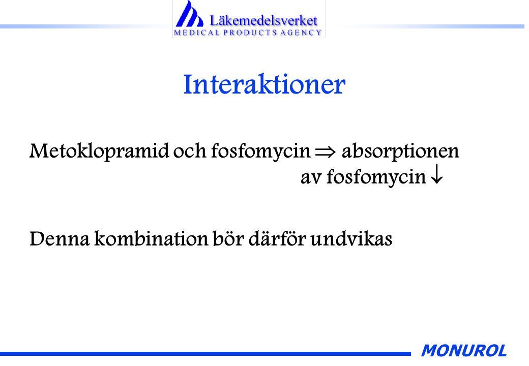 MONUROL Interaktioner Metoklopramid och fosfomycin  absorptionen av fosfomycin  Denna kombination bör därför undvikas