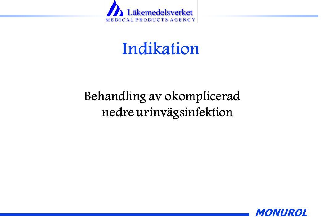 MONUROL Indikation Behandling av okomplicerad nedre urinvägsinfektion